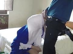 Sexy Arab gets fuck sideway in her shaved pussy