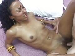 Hot indian wife gets her twat filled with big dick