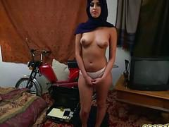 Sexy Arab gal goes down and suck a big cock