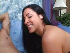 Indian brunette women jerk off a guy on a big soft blue bed